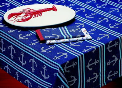 Design Imports Anchor Stripe Tablecloth