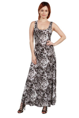 24Seven Comfort Apparel Magda Grey Floral Maxi Dress