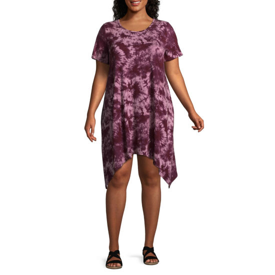 Boutique + Printed Tie Dye Short Sleeve Shark Bite T-Shirt Dresses - Plus