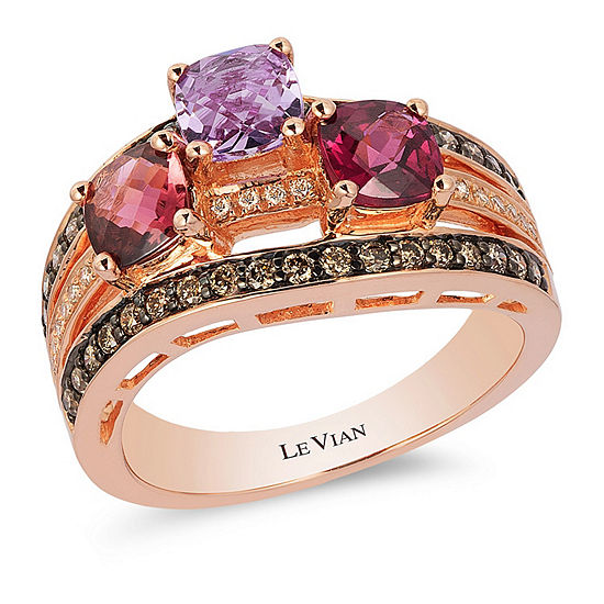 Limited Quantities Le Vian Grand Sample Sale Ring Featuring Raspberry Rhodolite Passion Fruit Tourmaline Grape Amethyst Chocolate Diamonds Vanilla Diamonds Set In 14k Strawberry Gold