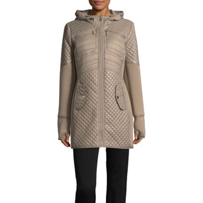 Liz Claiborne Quilted Hooded Lightweight Quilted Jacket