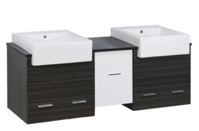 59.5-in. W Wall Mount White-Dawn Grey Vanity Set For 3H8-in. Drilling Black Galaxy Top