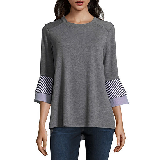 9506ea0b72944 Alyx Womens Round Neck 3 4 Sleeve Knit Blouse - JCPenney