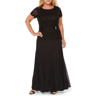 Onyx Nites Short Sleeve Lace Top Evening Gown - Plus