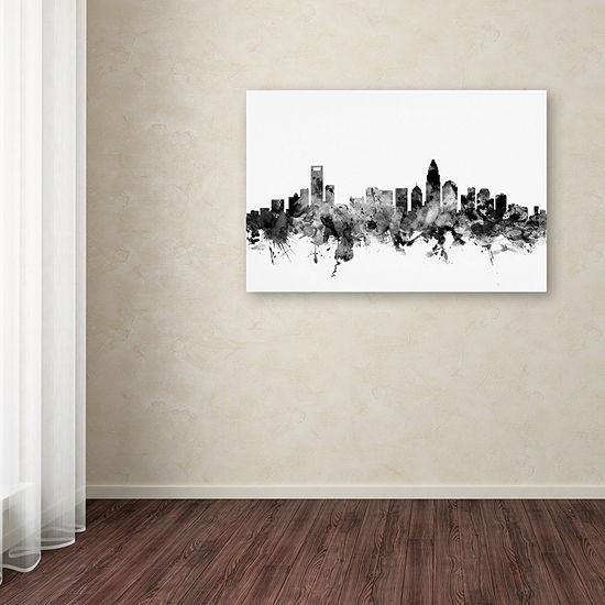 Trademark Fine Art Michael Tompsett Charlotte NC Skyline B&W Giclee Canvas Art