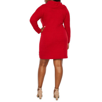 Studio 1 Long Sleeve Cowl Neck Sweater Dress - Plus