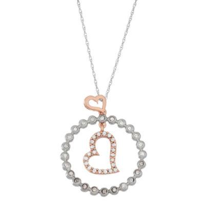 Womens 1/3 CT. T.W. White Diamond 10K Rose Gold 10K White Gold Heart Pendant Necklace