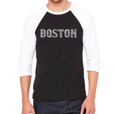 Los Angeles Pop Art Men's Raglan Baseball Word Art T-shirt - BOSTON NEIGHBORHOODS