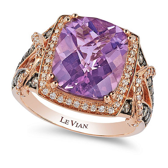 LIMITED QUANTITIES Le Vian Grand Sample Sale™ Ring featuring 4  Grape Amethyst™, Chocolate Diamonds®, Vanilla Diamonds® set in 14K Strawberry Gold®