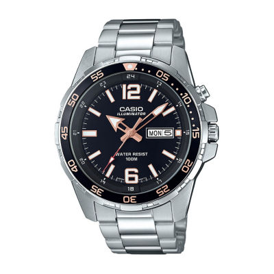 Casio Mens Silver Tone Bracelet Watch-Mtd1079d-1a3v
