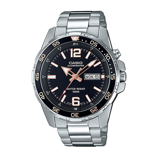 Casio Mens Silver Tone Stainless Steel Bracelet Watch-Mtd1079d-1a3v