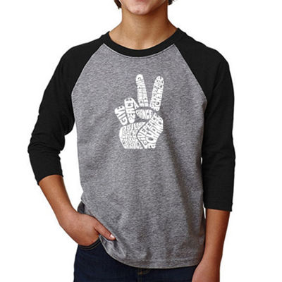 Los Angeles Pop Art Boy's Raglan Baseball Word ArtT-shirt - PEACE FINGERS
