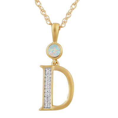 D Womens Lab Created White Opal Pendant Necklace