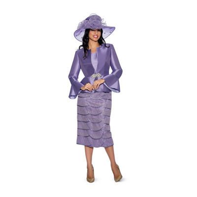 Giovanna Collection Women's Silk Wool and Tiered Lace 3-piece Skirt Suit