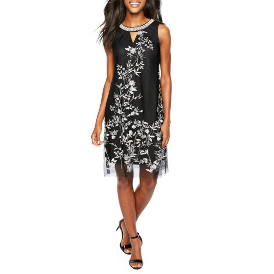 Studio 1 Sleeveless Embroidered Floral Shift Dress