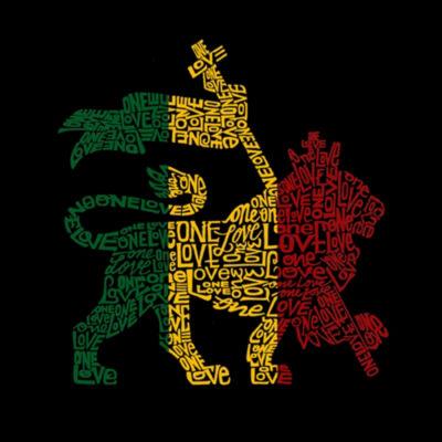 Los Angeles Pop Art Women's Raglan Word Art T-shirt - Rasta Lion - One Love