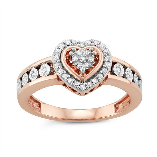 Womens 1/5 CT. T.W. White Diamond 14K Rose Gold Over Silver Heart Promise Ring