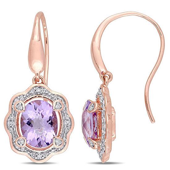 1/5 CT. T.W. Genuine Purple Amethyst 18K Rose Gold Over Silver Drop Earrings