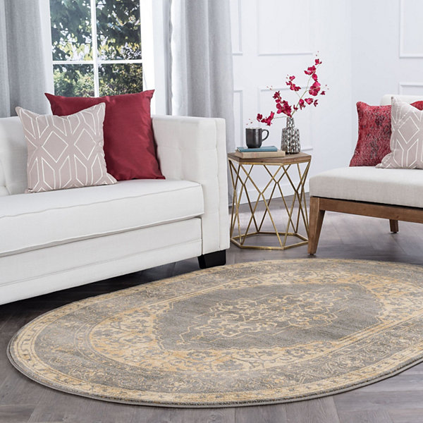 Tayse Harper Transitional Border Oval Area Rug