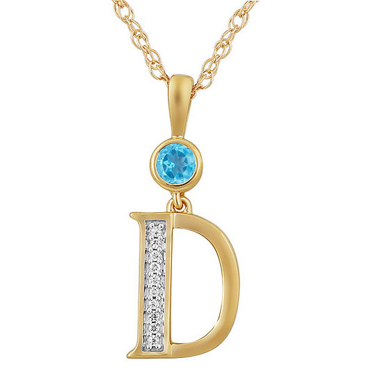 D Womens Genuine Blue Topaz 14K Gold Over Silver Pendant Necklace