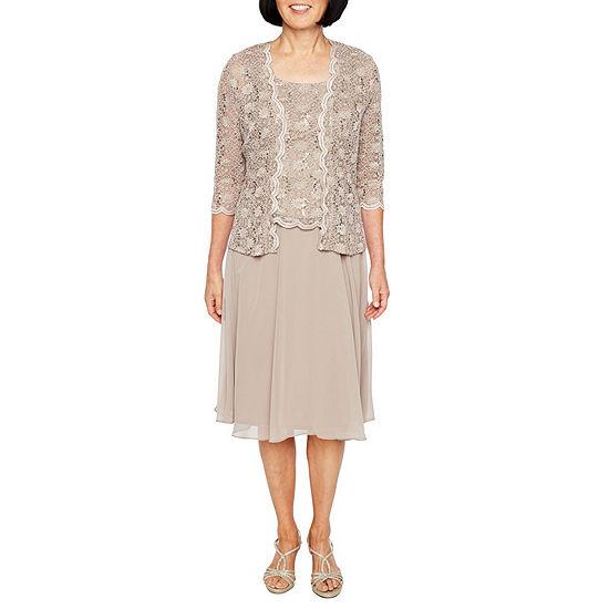 a68966c841a R M Richards 3 4 Sleeve Lace Chiffon Jacket Dress - JCPenney