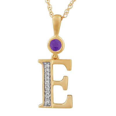 E Womens Genuine Purple Amethyst 14K Gold Over Silver Pendant Necklace