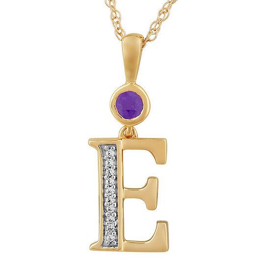 E Womens Genuine Purple Amethyst 14K Gold Over Silver Pendant Necklace
