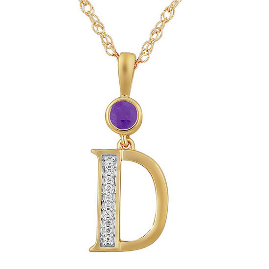 D Womens Genuine Purple Amethyst 14K Gold Over Silver Pendant Necklace