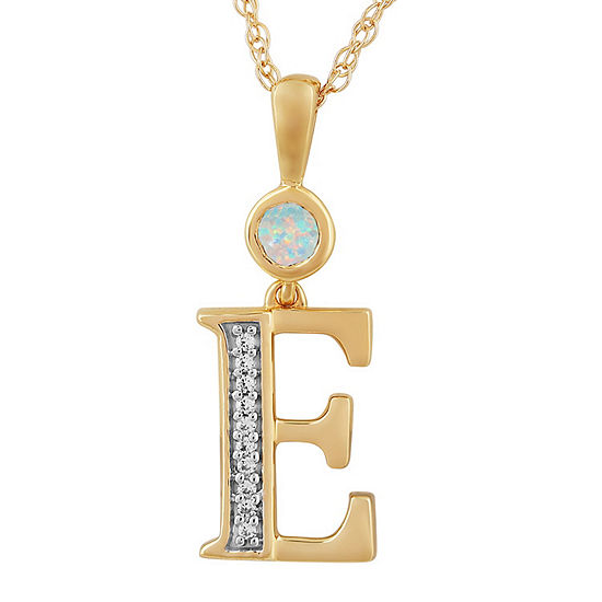 E Womens Lab Created White Opal 14K Gold Over Silver Pendant Necklace