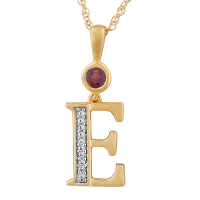 E Womens Genuine Red Garnet 14K Gold Over Silver Pendant Necklace
