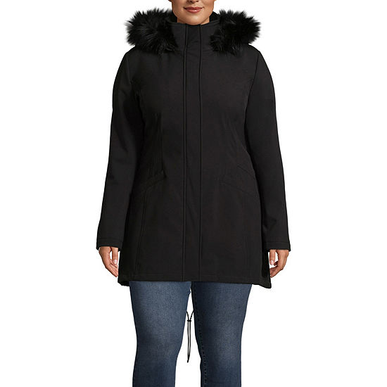 a.n.a Hooded Water Resistant Midweight Softshell Jacket-Plus