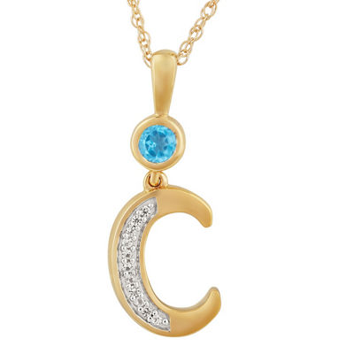 C Womens Genuine Blue Topaz 14K Gold Over Silver Pendant Necklace