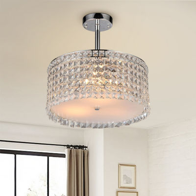 Warehouse Of Tiffany Garcia Chrome and Crystal Round 4-light Chandelier