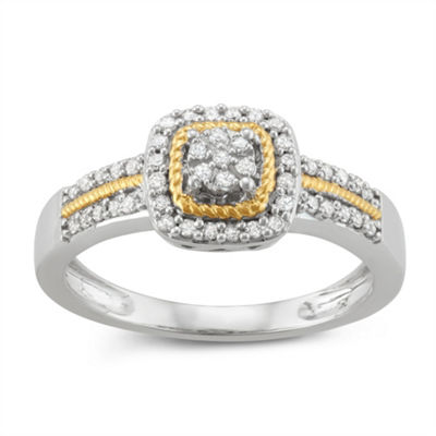Womens 1/4 CT. T.W. White Diamond 14K Gold Over Silver Sterling Silver Promise Ring