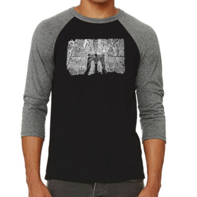 Los Angeles Pop Art Men's Raglan Baseball Word Art T-shirt - Brooklyn Bridge