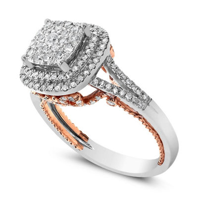 Womens 3/4 CT. T.W. Genuine White Diamond 14K Rose Gold Engagement Ring