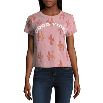 """Good Vibes"" Cropped Tee - Juniors"