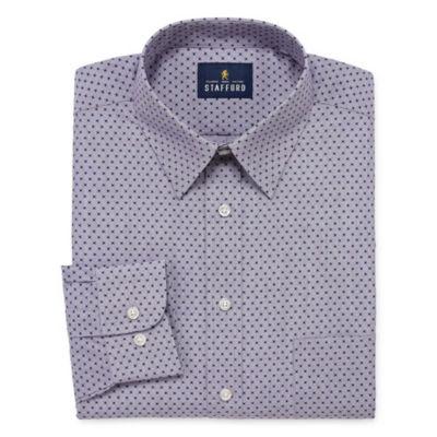 Stafford Travel Stretch Performance Super Shirt Long Sleeve Broadcloth Geometric Dress Shirt