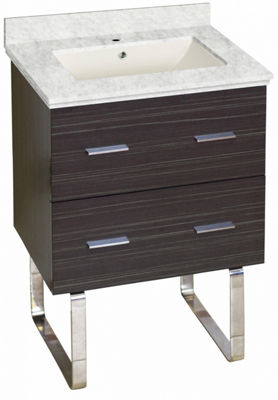 23.75-in. W Floor Mount Dawn Grey Vanity Set For 1Hole Drilling Bianca Carara Top Biscuit UM Sink