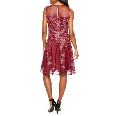J Taylor Sleeveless Embroidered Party Dress