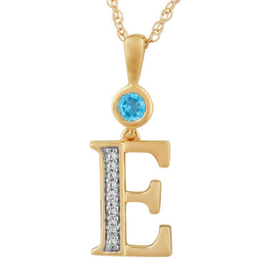 E Womens Genuine Blue Topaz 14K Gold Over Silver Pendant Necklace