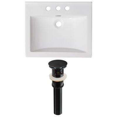 21-in. W 3H4-in. Ceramic Top Set In White Color -Overflow Drain Incl.