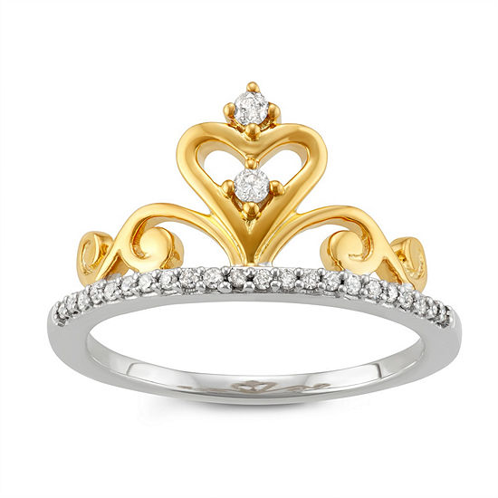 Womens 1/6 CT. T.W. White Diamond 14K Gold Over Silver Sterling Silver Promise Ring