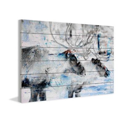 Reindeer Pair Painting Print on White Wood