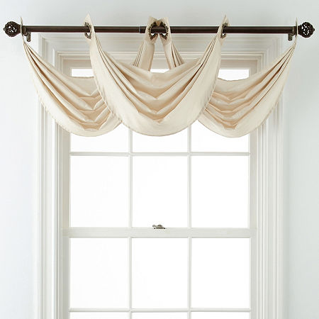 JCPenney Home Plaza Grommet-Top Waterfall Valance, One Size , Beige