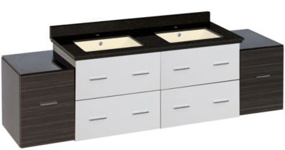 74.5-in. W Wall Mount White-Dawn Grey Vanity Set For 1 Hole Drilling Black Galaxy Top Biscuit UM Sink