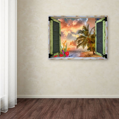Trademark Fine Art Leo Kelly Tropical Window to Paradise IV Giclee Canvas Art