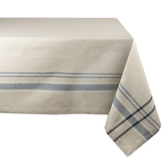 Design Imports Nautical Blue French Stripe Tablecloth