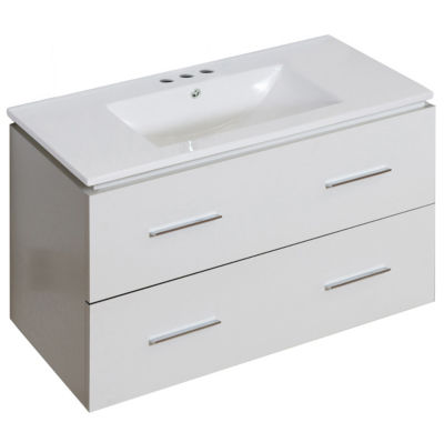 35.5-in. W Wall Mount White Vanity Set For 3H4-in.Drilling