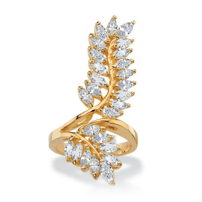 Womens 4 CT. T.W. White Cubic Zirconia 14K Gold Over Brass Cocktail Ring